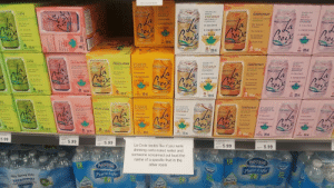 This sign for La Croix at my local grocery store (i.redd.it): SPARKLING  LiME  GRAPEFRUIT  BERAY  -CALONİE.  coconuT  PARKAING WATE  EAAY  O-CALORIE  CALORIE  Flovaur  no Colorler  no Artineial  Os  e Ratihcicl  辑  355 mL  ium-Free  8  8  LIME  PEACH-PERACE  EVERAGs  R naturel  GRAPEFRUIT  ORRNGE  oconu  O CALORIE  -CALOAIE  o-SWEETENER  na Cotorer  nox  8  8  . 355  8  355m  8  355 m  1355mL  mE  LIME  ORRNGE  -CALORIE  conur  EERAY  CALORIE  0-CALORIE  九0  8  8  8  ase 355 m  8  5.99  5.99  La Croix tastes like if you were  drinking carbonated water and  someone screamed out loud the  name of a specific fruit in the  other room  5.99  …-.  Nestle  Neste  Pure Life  Pure Life  Quality  ia This sign for La Croix at my local grocery store (i.redd.it)