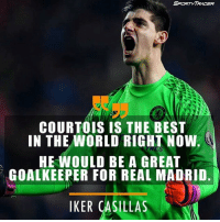 Memes, Iker Casillas, and 🤖: SPaRTY TRADER  COURTOIS IS THE BEST  IN THE WORLD RIGHT NOW.  HE WOULD BE A GREAT  GOALKEEPER FOR REAL MADRID.  IKER CASILLAS Agree❓ 🅰️ Yes 🅱️ No