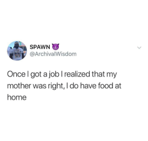 Welcome to the real world, kid by Scaulbylausis MORE MEMES: SPAWN  @ArchivalWisdom  Once I got a joblrealized that my  mother was right, I do have food at  home Welcome to the real world, kid by Scaulbylausis MORE MEMES