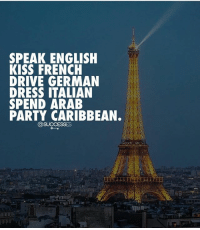 Memes, Party, and Dress: SPEAK ENGLISH  KISS FRENCH  DRIVE GERMAN  DRESS ITALIAN  SPEND ARAB  PARTY CARIBBEAN. Keep it going! 👇 Successes