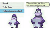 """<p>Invest in Bonzi Buddy format now! via /r/MemeEconomy <a href=""""http://ift.tt/2z2hzcG"""">http://ift.tt/2z2hzcG</a></p>: Speak  Tell a Joke  Tell an Amazing Fact  Edgy memes are dying  because mods are gay <p>Invest in Bonzi Buddy format now! via /r/MemeEconomy <a href=""""http://ift.tt/2z2hzcG"""">http://ift.tt/2z2hzcG</a></p>"""