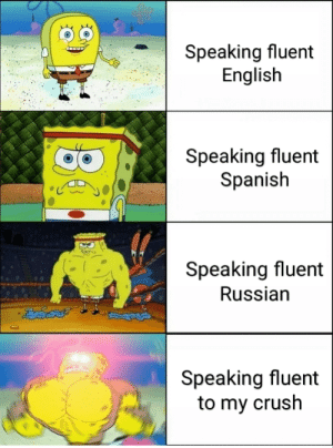 Impossible: Speaking fluent  English  Speaking fluent  Spanish  Speaking fluent  Russian  Speaking fluent  to my crush Impossible