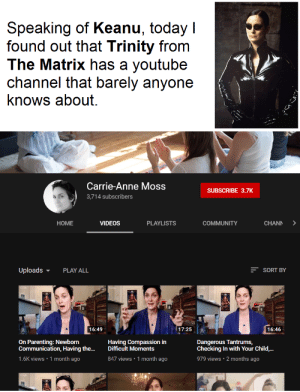 Community, The Matrix, and Videos: Speaking of Keanu, today I  found out that Trinity from  The Matrix has a youtube  channel that barely anyone  knows about.  Carrie-Anne Moss  SUBSCRIBE 3.7K  3,714 subscribers  HOME  VIDEOS  PLAYLISTS  COMMUNITY  CHANN  SORT BY  Uploads  PLAY ALL  16:46  16:49  17:25  Dangerous Tantrums,  Checking In with Your Child,..  On Parenting: Newborn  Communication, Having the...  Having Compassion in  Difficult Moments  1.6K views 1 month ago  847 views 1 month ago  979 views  2 months ago Dodge this.