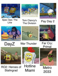 War Thunder: Spec Ops: The  Tom Clancy's  Pay Day 2  Line  The Division  DayZ War Thunder  Far Cry  Primal  RO2: Heroes of Hotline  T Metro  Stalingrad  Miami  2033