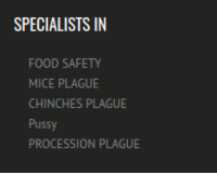 SPECIALISTS IN  FOOD SAFETY  MICE PLAGUE  CHINCHES PLAGUE  Pussy  PROCESSION PLAGUE me irl
