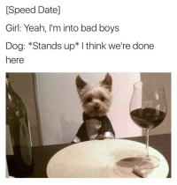 Date Girl: [Speed Date]  Girl: Yeah, I'm into bad boys  Dog: *Stands up* I think we're done  here