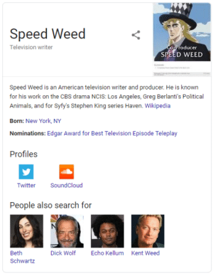 Animals, New York, and SoundCloud: Speed Weed  Television writer  CoProducer  SPEED WEED  T  Speed Weed is an American television writer and producer. He is known  for his work on the CBS drama NCIS: Los Angeles, Greg Berlanti's Political  Animals, and for Syfy's Stephen King series Haven. Wikipedia  Born: New York, NY  Nominations: Edgar Award for Best Television Episode Teleplay  Profiles  SoundCloud  Twitter  People also search for  Beth  Dick Wolf  Echo Kellum  Kent Weed  Schwartz I don't know how this happened but I'm glad it did.