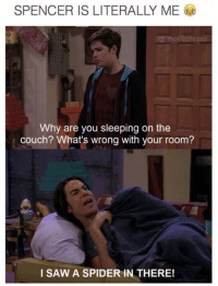 Memes, Spider, and Couch: SPENCER IS LITERALLY ME  movie phrase  Why are you sleeping on the  couch? What's wrong with your room?  I SAW A SPIDER IN THERE!