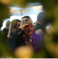 Memes, Survivor, and Getty Images: Spencer Platt/Getty Images Pearl Harbor survivor Armando 'Chick' Galella, 97, salutes during an event on the USS Intrepid to mark 77 years since the Japanese surprise attack that prompted the United States to enter World War II.