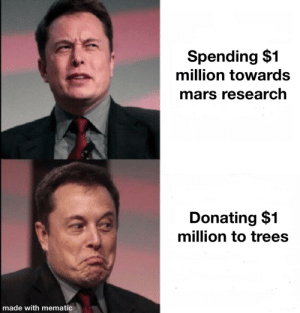 #teamtrees: Spending $1  million towards  mars research  Donating $1  million to trees  made with mematic #teamtrees