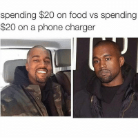 Food, Phone, and Kardashian: spending $20 on food vs spending  $20 on a phone charger Food is always better.