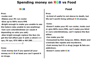 Food is overrated IMO: Spending money on RGB vs Food  Food  RGB  Pros:  Pros:  -Is kind of useful to not starve to death, but  life isn't worth living without RGB anyway.  -Looks cool  -Makes your PC run cooler  -Give up to 50% more FPS  -Cons:  -Bright enough to make you unable to see  -Doesn't make your PC run cooler, looks cool  or give 50% more FPS, can't make you blind  or cure colorblindness, can't replace the Sun  the haters (aka unable to see anything)  -Can cure colorblindness (or cause it  depending on who you ask)  either.  -Also bright enough replace the Sun (to  -Can make you fat  get the full effect pair it with a 14nm+++  -Consumed by Kim Jung-un, Hitler, Stalin and  cpu, FX cpu, GTX 480 or R9 290,araing do this at yur own riak, won't be  criminals like rapists and murderers.  responsible if you either melt yourself, or cause the extinction of humanity via global warming  -Cost money but it's a drug (sugar & fats are  addictive).  Cons:  -Cost money but if you spend all your  -Doesn't come with RGB  money on RGB at least you can't spend it  on drugs. Food is overrated IMO