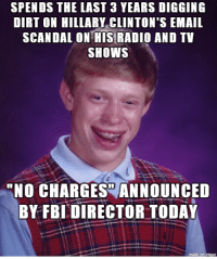SPENDS THE LAST 3 YEARS DIGGING  DIRT ON HILLARY CLINTON'S EMAIL  SCANDAL ONTHIS RADIO AND TV  SHOWS  NO CHARGES ANNOUNCED  BY FBI DIRECTOR TODAY Sean Hannity Today
