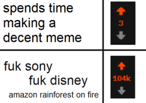 Amazon, Disney, and Fire: spends time  making a  decent meme  3  fuk sony  fuk disney  104k  amazon rainforest on fire awesomesthesia:  Yep