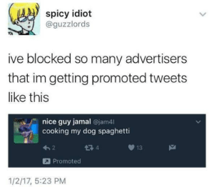 Spaghetti, Spicy, and Idiot: spicy idiot  @guzzlords  ive blocked so many advertisers  that im getting promoted tweets  like this  nice guy jamal @jam4l  cooking my dog spaghetti  13  Promoted  1/2/17, 5:23 PM Me irl
