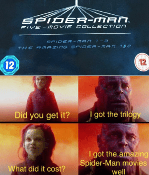 Hope everyone has a good christmas: SPID ER-MAN.  FIVE- MOVIE COLLECTION  SPIDER -MAN 7 - 3  THE A MAZING SPIDEA - MAN 162  12  12  I got the trilogy  Did you get it?  I got the amazing  Spider-Man movies  well  What did it cost?  KATION OFFICE  HISH FILM T Hope everyone has a good christmas