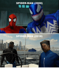 It's awesome how graphics have changed after 18 years :D https://t.co/bTniIUnN6L: SPIDER-MAN (2000)  SPIDER-MAN (2018) It's awesome how graphics have changed after 18 years :D https://t.co/bTniIUnN6L
