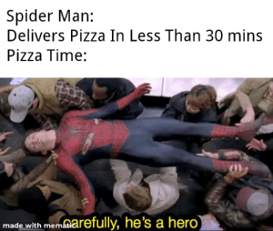Oh Yeah It's Pizza Time: Spider Man:  Delivers Pizza In Less Than 30 mins  Pizza Time:  made with memnarefully, he's a hero Oh Yeah It's Pizza Time