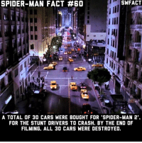 Favorite scene of Spider-Man 2?: SPIDER-MAN FACT #60  SWFACT  A TOTAL OF 30 CARS WERE BOUGHT FOR 'SPIDER-MAN 2  FOR THE STUNT DRIVERS TO CRASH. BY THE END OF  FILMING, ALL 3O CARS WERE DESTROYED. Favorite scene of Spider-Man 2?