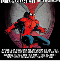 Memes, Saw, and Spider: SPIDER-MAN FACT #65 WALLCRAWLERFACTS  ent  SPIDER-MAN ONCE SAW AN EXPLOSION GO OFF THAT  WAS NEAR HIM. BUT HIS SPIDER-SENSE DIDN'T GO OFF  BECAUSE HE WAS TOO FAR AWAY FROM IT. AND IT  DIDN'T POSE AN IMMEDIATE THREAT TO HIM. His Spidey-Sense is very interesting on how it works. It's one of the most intriguing superpowers ever I think.