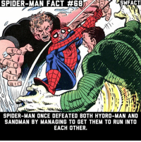 Smart 😂: SPIDER-MAN FACT #68  SWFACT  SPIDER-MAN ONCE DEFEATED BOTH HYDRO-MAN AND  SANDMAN BY MANAGING TO GET THEM TO RUN INTO  EACH OTHER. Smart 😂