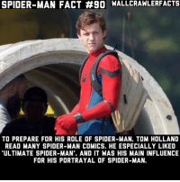 "Definitely, Memes, and Spider: SPIDER-MAN FACT #90 WALLCRAWLERFACTS  TO PREPARE FOR HIS ROLE OF SPIDER-MAN, TOM HOLLAND  READ MANY SPIDER-MAN COMICS. HE ESPECIALLY LIKED  ULTIMATE SPIDER-MAN"", AND IT WAS HIS MAIN INFLUENCE  FOR HIS PORTRAYAL OF SPIDER-MAN. Ultimate is definitely worth reading if you haven't read it yet."