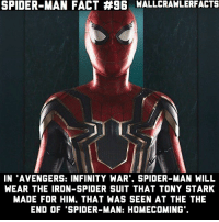 """As I said yesterday, I'm now posting spoilers for Homecoming since it's been 3 weeks since it's release.: SPIDER-MAN FACT #96 WALLCRAWLERFACTS  IN """"AVENGERS: INFINITY WAR"""", SPIDER-MAN WILL  WEAR THE IRON-SPIDER SUIT THAT TONY STARK  MADE FOR HIM. THAT WAS SEEN AT THE THE  END OF """"SPIDER-MAN: HOMECOMING As I said yesterday, I'm now posting spoilers for Homecoming since it's been 3 weeks since it's release."""