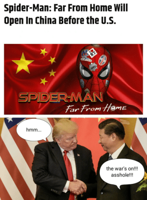 Movies, Spider, and SpiderMan: Spider-Man: Far From Home Will  Open In China Before the U.S.  NY  ICE  SPIDER-MAN  Far From HameE  hmm...  the war's on!!!  asshole!!! every time some chinese websites leak the full movies ahead of its official releases!!! but now it's OFFICIAL!!!