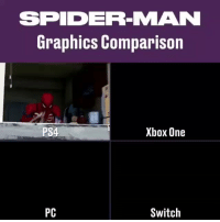 Ps4, Spider, and SpiderMan: SPIDER-MAN  Graphics Comparison  PS4  Xbox One  PC  Switch Spiderman https://t.co/J3ZBUgUBXa