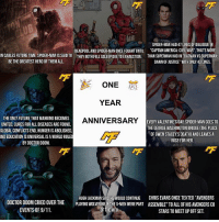 """Memes, 🤖, and Mcu: SPIDER-MAN HAD 47 LINESOFDIALOGUE IN  DEADPOOLANDSPIDER-MAN ONCE FOUGHTUNTIL """"CAPTAIN AMERICA: CIVILWAR"""", THAT SMORE  IN CABLES FUTURE TIME. SPIDER MANIS SAID TO THEY BOTH FELLASLEEPDUE TOEXHAUSTION. THANsUPERMAN HADIN BATMAN vs SUPERMAN  DAWN OF JUSTICE"""" WITHONLY4k LINES.  BE THE GREATEST HERO OF THEMALL.  ONE  YEAR  ANNIVERSARY  EVERY VALENTINE'S DAY, SPIDER-MAN GOES TO  UNITED, CURES FORALL DISEASESARE FOUND.  THE GEORGE WASHINGTON BRIDGE THE PLACE  GLOBAL CONFLICTS END. HUNGER ISABOLISHED  OF GWEN STACEY'S DEATH AND LEANESA  AND EDUCATIONIS UNIVERSAL ISAWORLD RULE  ROSE FOR HER.  BY DOCTOR DOOM.  HUGH JACKMAN SAIDHE WOULD CONTINUE  CHRIS EVANS ONCE TEXTED """"AVENGERS  DOCTOR DOOM CRIED OVER THE  PLAYING WOLVERINE IF THEX MEN WERE PART ASSEMBLE"""" TO ALL OF HIS AVENGERS CO  EVENTS OF 9/11.  A OF THE MCU  STARS TO MEET UP OFF SET So, today marks this accounts one year anniversary! I just wanted to thank those of you who have supported this account and especially a big thank you to those who have followed me since the start! Let's make sure this account continues to inform people about the marvel universe for many more years to come!🎉 Also a special thank you to the other Instagram accounts and all my friends that have helped me the past year, it means a lot💪🏼"""