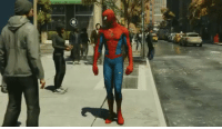"""Spider-Man has a """"hello"""" button which means everyone in NYC is getting the finger guns https://t.co/2qyqHUqhk2: Spider-Man has a """"hello"""" button which means everyone in NYC is getting the finger guns https://t.co/2qyqHUqhk2"""