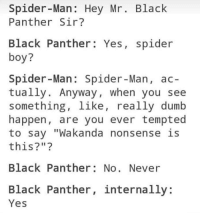 """Dumb, Spider, and SpiderMan: Spider -Man: Hey Mr. Black  Panther Sir?  Black Panther: Yes, spider  boy?  Spider-Man: Spider-Man, ac-  tually. Anyway, when you see  something, 1ike, really dumb  happen, are you ever tempted  to sav """"Wakanda nonsense is  this?""""  Black Panther: No. Never  Black Panther, internally:  Yes"""