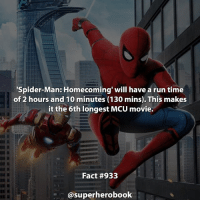 Who's excited for Spider-Man: Homecoming! - marvel superhero facts marvelfacts steverogers rocketracoon spiderman marveluniverse anime marvelstudios xmen thor nova avengers comics mcu marvelart marvelcomics teamcap civilwar teamironman ironman avengers spiderman chrisevans captainamerica spidermanhomecoming stanlee logan wolverine xmen ===================================: 'Spider-Man: Homecoming' will have a run time  of 2 hours and 10 minutes (130 mins). This makes  it the 6th longest MCU movie.  Fact #933  asuperherobook Who's excited for Spider-Man: Homecoming! - marvel superhero facts marvelfacts steverogers rocketracoon spiderman marveluniverse anime marvelstudios xmen thor nova avengers comics mcu marvelart marvelcomics teamcap civilwar teamironman ironman avengers spiderman chrisevans captainamerica spidermanhomecoming stanlee logan wolverine xmen ===================================