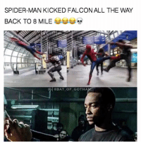 SPIDER MAN KICKED FALCON ALL THE WAY  BACK TO 8 MILE  IG @BAT OF GOTHA Redid and old meme😂😂😂😂😂😂😂😂😂 Still love it! Feel free to comment and share just give credit! . . . Don't forget to help us out by using the link in our bio to get some awesome shirts! . . . . . . . . . . . . . . . justiceleague jla benaffleck batman geoffjohns superman henrycavill wonderwoman galgadot cyborg rayfisher ezramiller flash guardiansofthegalaxyvol2 marvelcomics 8mile dc dceu anthonymackie thorragnarok falcon edit Spiderman spidermanhomecoming tomholland mcu spidey