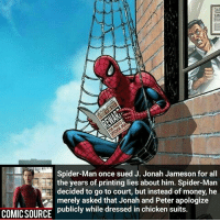 J. Jonah Jameson, Memes, and 🤖: Spider-Man once sued J. Jonah Jameson for all  the years of printing lies about him. Spider-Man  decided to go to court, but instead of money, he  merely asked that Jonah and Peter apologize  COMICSOURCE publicly while dressed in chicken suits. I would've taken the cash _____________________________________________________ - - - - - - - Hulk Hawkeye Spiderman Daredevil Wolverine Logan Deadpool LukeCage CaptainAmerica Avengers Xmen StarWars Defenders Ironman DarthVader Doctorstrange Yoda SpidermanHomecoming Marvel ComicFacts Superhero Comics Like4ike Like Facts Disney DCcomics Netflix
