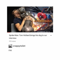 Some More, Spider, and SpiderMan: SPIDER-MAN  Spider-Man: Tom Holland brings his dog to our  intervieww  97K views  週crappytoilet  me hey if anyone wants to make @orangefuzzysocks and i some more matching icons please dm us!!!