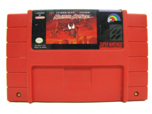 Nintendo, Spider, and SpiderMan: SPIDER-MAN VENOM  LICENSED  BY  SUPER NINTENDO  SNS-AMCE USA  MADE IN JAPAN One of the most badass game cartridges ever.