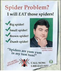 "Will he eat Spiderman tho?: Spider Problem?  I will EAT those spiders!  Big spider!  Small spider!  Brown spider!  Dumb spider!  ""Spiders are yum yum  Glenn Funtz,  spider eater  in my tum tum!""  SPOODLERS!  OODLECALL NOW:  NO MORE CALL NOW:  1-800-EAT-SPI Will he eat Spiderman tho?"