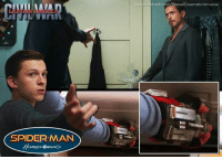 SPIDERMAN  omEC eminG  wwww.facebook.com/MarvelCinematicUniverse The SPIDER-MAN: HOMECOMING teaser gave us a great look at Peter Parker's home-made web shooters that we see him use to web Stark in CAPTAIN AMERICA: CIVIL WAR.  (Brian)