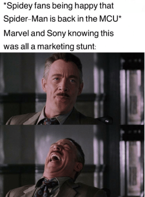 Sony, Spider, and SpiderMan: *Spidey fans being happy that  Spider-Man is back in the MCU*  Marvel and Sony knowing this  was all a marketing stunt: I'm happy that we're getting more JJJ