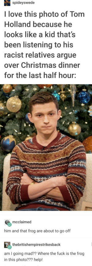 Arguing, Christmas, and Love: spideyswede  I love this photo of Tom  Holland because he  looks like a kid that's  been listening to his  racist relatives argue  over Christmas dinner  for the last half hour:  mcclaimed  him and that frog are about to go off  thebritishempirestrikesback  am I going mad?? Where the fuck is the frog  in this photo??? help! Christmas for Tom and his Frog