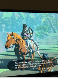 Fucking, Target, and Tumblr: Spinch  Yee-haw! My name is Spinchl This is my  horse, Spinch! Th  Is it confusing? I don't caret  at's right-same name! spadefish:This man is my fucking hero
