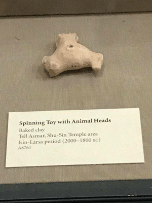 Baked, Fuck You, and Period: Spinning Toy with Animal Heads  Baked clay  Tell Asmar, Shu-Sin Temple area  Isin-Larsa period (2000-1800 BC)  A8761 zsnes: museum-of-artifacts:   Spinning toy with animal heads.Mesopotamia, 2000-1800 BC   oh fuck you