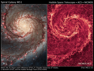 pictures-of-space:    The Two-faced Whirlpool Galaxy These images by NASA's Hubble Space Telescope show off two dramatically different face-on views of the spiral galaxy M51, dubbed the Whirlpool Galaxy. The image at left, taken in visible light, highlights the attributes of a typical spiral galaxy, including graceful, curving arms, pink star-forming regions, and brilliant blue strands of star clusters. In the image at right, most of the starlight has been removed, revealing the Whirlpool's skeletal dust structure, as seen in near-infrared light. This new image is the sharpest view of the dense dust in M51. The narrow lanes of dust revealed by Hubble reflect the galaxy's moniker, the Whirlpool Galaxy, as if they were swirling toward the galaxy's core.   For more information visit our webpage here    : Spiral Galaxy M51  Hubble Space Telescope ACS NICMOs  ACS  İNICMOS/ACS  NASA, ESA, M. Regan and B. Whitmore (STScI), R. Chandar (University of Toledo)  S. Beckwith (STScl), and the Hubble Heritage Team (STScl/AURA)  STScI-PRC11-03 pictures-of-space:    The Two-faced Whirlpool Galaxy These images by NASA's Hubble Space Telescope show off two dramatically different face-on views of the spiral galaxy M51, dubbed the Whirlpool Galaxy. The image at left, taken in visible light, highlights the attributes of a typical spiral galaxy, including graceful, curving arms, pink star-forming regions, and brilliant blue strands of star clusters. In the image at right, most of the starlight has been removed, revealing the Whirlpool's skeletal dust structure, as seen in near-infrared light. This new image is the sharpest view of the dense dust in M51. The narrow lanes of dust revealed by Hubble reflect the galaxy's moniker, the Whirlpool Galaxy, as if they were swirling toward the galaxy's core.   For more information visit our webpage here