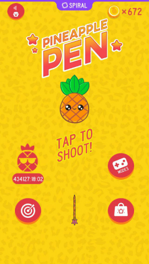 Shit, Pineapple, and Spiral: SPIRAL  x672  PINEAPPLE  PEN  TAP TO  SHOOT!  434127:18:02  MODES Was casually playing PPAP and noticed shit happening
