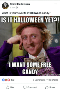 Halloween: Spirit Halloween  1 hr  SPIRI  What is your favorite #Halloween candy?  IS IT HALLOWEEN YETO  I WANT SOME FREE  CANDY  memegeneratot.net  332  8 Comments 109 Shares  Like oent Share