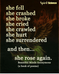 Memes, Poems, and 🤖: Spirit Science  she fell  she crashed  she broke  she cried  she crawled  she hurt  she surrendered  and then...  she rose again  Beautiful Minds Anonymous  (a book of poems) Follow our new page @alaskanhashqueen
