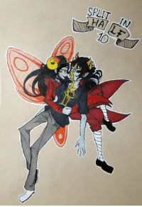 Target, Tumblr, and Blog: SPLIT IN  10 unseelienihilist:   Goretober 2017 Day 10 - Split in HalfAraSol is a very nice pairing. This was mostly inspired by Prassio's artwork for the Gold Mage track on the Colours and Mayhem album. Aradia's kind of pressing his body together but all in all I had the idea for something similar to this before except Sollux's body wouldn't be splitting in half. I wanted to make the insides more detailed but this is A5 paper and working over gel pens can be kind of a pain.