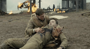 (Spoiler) In 1917, Lance Corporal Blake's face gets more and more pale as he bleeds out. This was unrehearsed, and shows Dean-Charles Chapman's amazing acting. He had no idea that the actor playing the German solider would actually stab him.: (Spoiler) In 1917, Lance Corporal Blake's face gets more and more pale as he bleeds out. This was unrehearsed, and shows Dean-Charles Chapman's amazing acting. He had no idea that the actor playing the German solider would actually stab him.