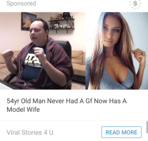 Old Man, Tumblr, and Blog: Sponsored  54yr Old Man Never Had A Gf Now Has A  Model Wife  Viral Stories 4 U  READ MORE pyrogina:im so happy for rich evans and his new wife